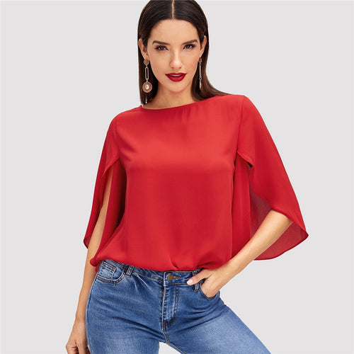 Red & Butterfly Sleeve Split Trim O-Neck Solid Blouse for Women - Funs & Good Women's fashion including dresses, T-shirts, sweatshirts, hoodies, leggings, skirts, bodysuits and more.