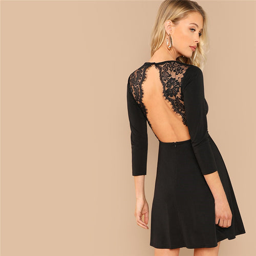 Black Elegant Party Lace Contrast Backless Natural Waist Long Sleeve Solid Dress for Women - Funs & Good Women's fashion including dresses, T-shirts, sweatshirts, hoodies, leggings, skirts, bodysuits and more.