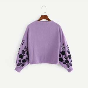 Ginger Preppy Elegant Floral Embroidered Cowl Neck Bishop Sleeve Sweatshirt for Women - Funs & Good Women's fashion including dresses, T-shirts, sweatshirts, hoodies, leggings, skirts, bodysuits and more.