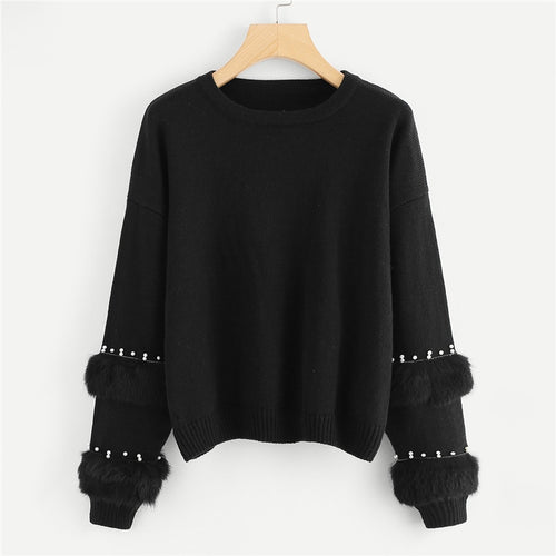 Black & Pearl Beading Faux Fur Detail O-Neck Pullovers Jumper for Women - Funs & Good Women's fashion including dresses, T-shirts, sweatshirts, hoodies, leggings, skirts, bodysuits and more.