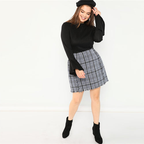 Plus Size Frayed Trim Hem High Waist Blue Plaid Tweed Mini A-Line Skirt for Women - Funs & Good Women's fashion including dresses, T-shirts, sweatshirts, hoodies, leggings, skirts, bodysuits and more.