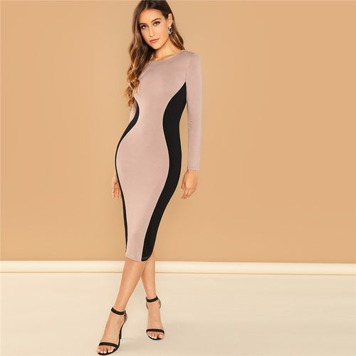 Pink Color Block Pencil Bodycon Round Neck Long Sleeve Slim Dress for Women - Funs & Good Women's fashion including dresses, T-shirts, sweatshirts, hoodies, leggings, skirts, bodysuits and more.