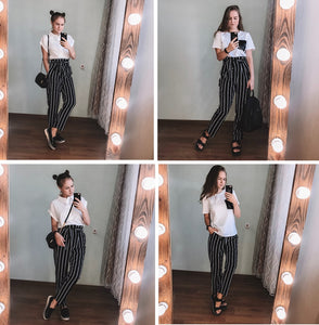 Self Belt Striped High Waist Zipper Fly Trousers for Women - Funs & Good Women's fashion including dresses, T-shirts, sweatshirts, hoodies, leggings, skirts, bodysuits and more.
