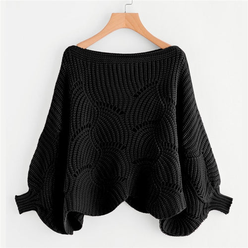 Black Preppy Solid Oversized Eyelet Detail Scallop Trim Batwing Sleeve Boat Neck Sweater for women - Funs & Good Women's fashion including dresses, T-shirts, sweatshirts, hoodies, leggings, skirts, bodysuits and more.
