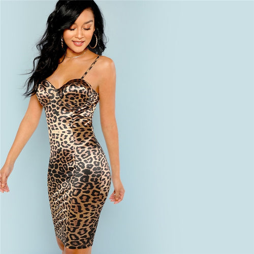 Leopard Print Bustier Natural Waist Skinny Slip Cami Dress for Women - Funs & Good Women's fashion including dresses, T-shirts, sweatshirts, hoodies, leggings, skirts, bodysuits and more.