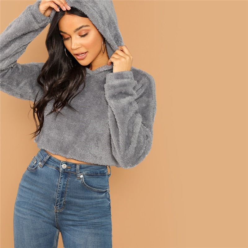 Grey Minimalist Solid Drop Shoulder Crop Teddy Hoodie Sweatshirt  for Women - Funs & Good Women's fashion including dresses, T-shirts, sweatshirts, hoodies, leggings, skirts, bodysuits and more.