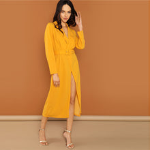 Load image into Gallery viewer, Ginger Waist Belted Wrap Notched Neck Asymmetrical Maxi Dress for Women - Funs & Good Women's fashion including dresses, T-shirts, sweatshirts, hoodies, leggings, skirts, bodysuits and more.