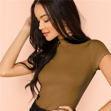 Load image into Gallery viewer, Casual Rib Knit Crop Round Neck Slim Fit Long Sleeve Pullovers T-shirt for Women - Funs & Good Women's fashion including dresses, T-shirts, sweatshirts, hoodies, leggings, skirts, bodysuits and more.