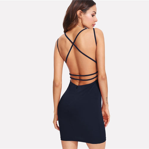 Black Modern Lady Deep V Neck Strappy Backless Fitted Cami Bodycon Slim Dress - Funs & Good Women's fashion including dresses, T-shirts, sweatshirts, hoodies, leggings, skirts, bodysuits and more.