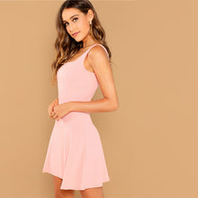 Load image into Gallery viewer, Pink Solid Fit And Flare Straps Neck Sleeveless Short Dress for Women - Funs & Good Women's fashion including dresses, T-shirts, sweatshirts, hoodies, leggings, skirts, bodysuits and more.