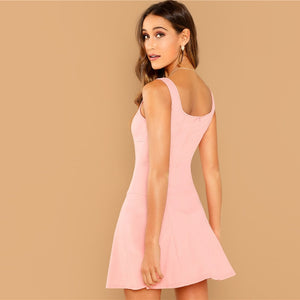 Pink Solid Fit And Flare Straps Neck Sleeveless Short Dress for Women - Funs & Good Women's fashion including dresses, T-shirts, sweatshirts, hoodies, leggings, skirts, bodysuits and more.