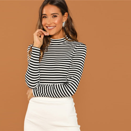 Black and White Slim Fit Mock Neck High Neck Striped Rib Knit T-shirt for Women - Funs & Good Women's fashion including dresses, T-shirts, sweatshirts, hoodies, leggings, skirts, bodysuits and more.