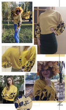 Load image into Gallery viewer, Ginger Preppy Elegant Floral Embroidered Cowl Neck Bishop Sleeve Sweatshirt for Women - Funs & Good Women's fashion including dresses, T-shirts, sweatshirts, hoodies, leggings, skirts, bodysuits and more.