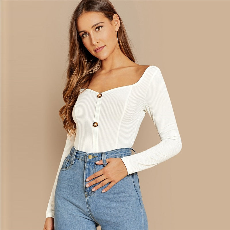 White & Button Front Ribbed Knit  Deep V Neck Pullovers T-shirt for Women - Funs & Good Women's fashion including dresses, T-shirts, sweatshirts, hoodies, leggings, skirts, bodysuits and more.