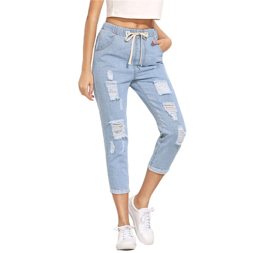 Blue Ripped Mid Waist Drawstring Skinny Denim Calf Length Jeans for Lady - Funs & Good Women's fashion including dresses, T-shirts, sweatshirts, hoodies, leggings, skirts, bodysuits and more.