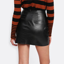Load image into Gallery viewer, Black High Waist O-Ring Zip Detail Faux Leather Skirt for Lady - Funs & Good Women's fashion including dresses, T-shirts, sweatshirts, hoodies, leggings, skirts, bodysuits and more.