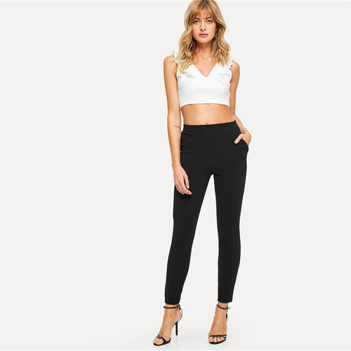 Elastic Waist Black Striped Mid Waist Skinny Trousers for Lady (Slim Fit Vertical Pencil Pants) - Funs & Good Women's fashion including dresses, T-shirts, sweatshirts, hoodies, leggings, skirts, bodysuits and more.