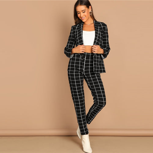 Black Stretchy Grid Print Shawl Collar Plaid Long Sleeve Blazer Pants for Women - Funs & Good Women's fashion including dresses, T-shirts, sweatshirts, hoodies, leggings, skirts, bodysuits and more.