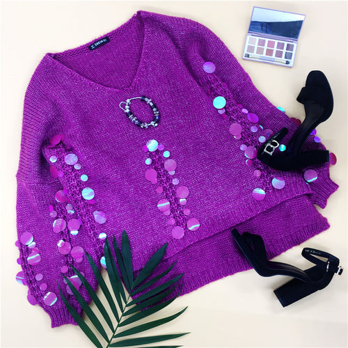 Purple & Sequin Applique Step Hem Asymmetrical Oversized Jumper for Women - Funs & Good Women's fashion including dresses, T-shirts, sweatshirts, hoodies, leggings, skirts, bodysuits and more.