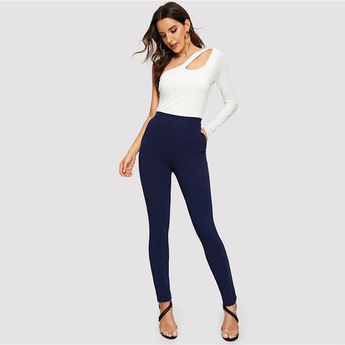 Blue Pocket Side Solid Textured Elastic Waist Skinny Pants for Women (Mid Waist Tapered/Carrot) - Funs & Good Women's fashion including dresses, T-shirts, sweatshirts, hoodies, leggings, skirts, bodysuits and more.