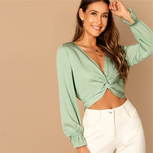 Green Plunging Deep V Neck Twist Ruffle Long Sleeve Crop Blouse for Women - Funs & Good Women's fashion including dresses, T-shirts, sweatshirts, hoodies, leggings, skirts, bodysuits and more.