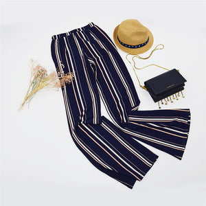 Navy & Striped Elastic Waist Flare Leg for Lady - Funs & Good Women's fashion including dresses, T-shirts, sweatshirts, hoodies, leggings, skirts, bodysuits and more.