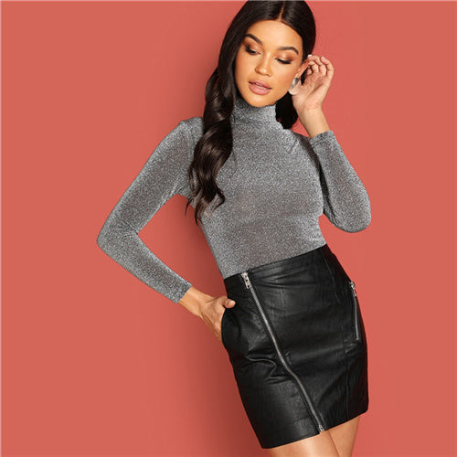 Grey Stand Collar Glitter Tee Modern Lady Long Sleeve Slim Fit T Shirt - Funs & Good Women's fashion including dresses, T-shirts, sweatshirts, hoodies, leggings, skirts, bodysuits and more.