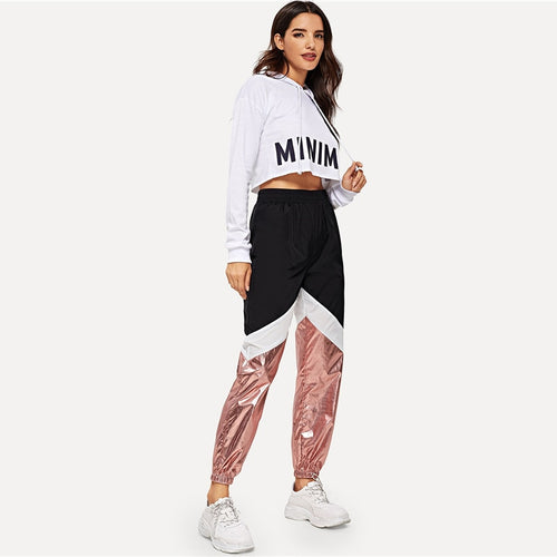 Color block Contrast Metallic 100% Nylon Pants for Women - Funs & Good Women's fashion including dresses, T-shirts, sweatshirts, hoodies, leggings, skirts, bodysuits and more.