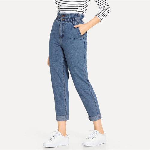 Blue Rolled Hem Frill High Waist Jeans for Lady - Funs & Good Women's fashion including dresses, T-shirts, sweatshirts, hoodies, leggings, skirts, bodysuits and more.