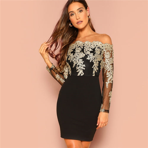 Black & Off the Shoulder Embroidered Mesh Bodice Bardot Bodycon Dress for Women - Funs & Good Women's fashion including dresses, T-shirts, sweatshirts, hoodies, leggings, skirts, bodysuits and more.