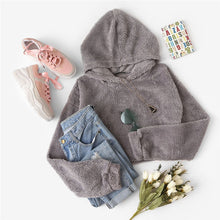 Load image into Gallery viewer, Grey Minimalist Solid Drop Shoulder Crop Teddy Hoodie Sweatshirt  for Women - Funs & Good Women's fashion including dresses, T-shirts, sweatshirts, hoodies, leggings, skirts, bodysuits and more.
