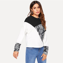 Load image into Gallery viewer, Color Block Snake Skin Sweatshirt Preppy Round Neck Long Sleeve Pullovers Sweatshirt for Women - Funs & Good Women's fashion including dresses, T-shirts, sweatshirts, hoodies, leggings, skirts, bodysuits and more.