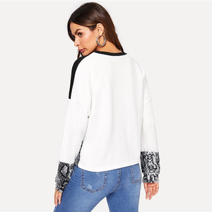 Color Block Snake Skin Sweatshirt Preppy Round Neck Long Sleeve Pullovers Sweatshirt for Women - Funs & Good Women's fashion including dresses, T-shirts, sweatshirts, hoodies, leggings, skirts, bodysuits and more.