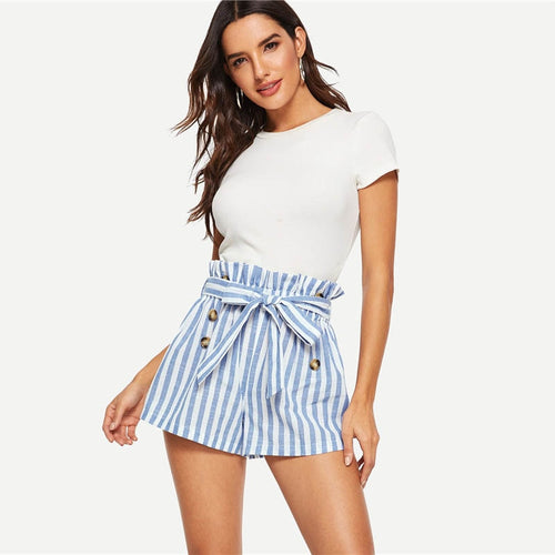 Blue or Green Paper-bag Pleated Waist Buttoned Belt Knot Striped Shorts for Women - Funs & Good Women's fashion including dresses, T-shirts, sweatshirts, hoodies, leggings, skirts, bodysuits and more.