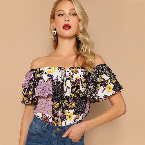 Multicolor Off Shoulder Layered Fold over Color block Floral Blouse for Women - Funs & Good Women's fashion including dresses, T-shirts, sweatshirts, hoodies, leggings, skirts, bodysuits and more.
