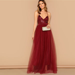 Burgundy Crisscross Open Back Sequin Patched Strappy Long Dress for Women - Funs & Good Women's fashion including dresses, T-shirts, sweatshirts, hoodies, leggings, skirts, bodysuits and more.