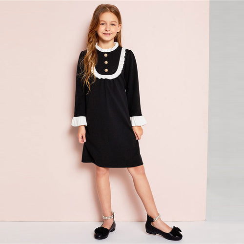 Girls Button Front Ruffle Yoke Bell Sleeve Midi Dress ( Stand Collar Preppy Knee-Length) - Funs & Good Women's fashion including dresses, T-shirts, sweatshirts, hoodies, leggings, skirts, bodysuits and more.