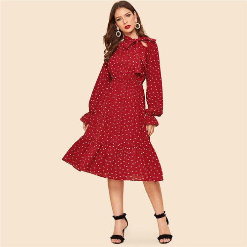 Tie Neck Allover Heart Print Ruffle Hem Midi Dress for Women (Stand Collar Flounce Sleeve Burgundy Long Dresses) - Funs & Good Women's fashion including dresses, T-shirts, sweatshirts, hoodies, leggings, skirts, bodysuits and more.