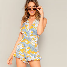 Load image into Gallery viewer, Boho Crisscross Open Back Jungle Leaf Print Ruffle Rompers for Women - Funs & Good Women's fashion including dresses, T-shirts, sweatshirts, hoodies, leggings, skirts, bodysuits and more.