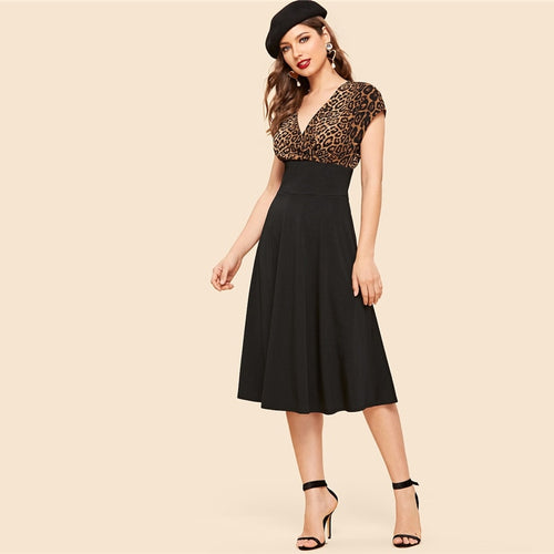 Vintage Wrap Front Leopard Bodice Fit And Flare Dress for Women (Color block V Neck A Line High Waist  Long Dresses) - Funs & Good Women's fashion including dresses, T-shirts, sweatshirts, hoodies, leggings, skirts, bodysuits and more.