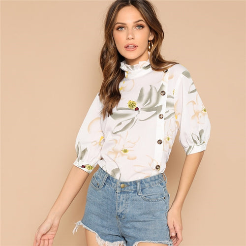 Beige Mock Neck Frilled Collar Lantern Half Sleeve Floral Buttoned Blouse for Women - Funs & Good Women's fashion including dresses, T-shirts, sweatshirts, hoodies, leggings, skirts, bodysuits and more.