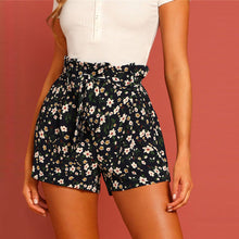 Load image into Gallery viewer, Boho Paper bag Tie Waist Flower Print Straight Leg Shorts for Women - Funs & Good Women's fashion including dresses, T-shirts, sweatshirts, hoodies, leggings, skirts, bodysuits and more.