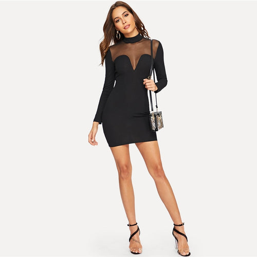 Glamorous Black Contrast Mesh Insert Sweetheart Fitted Zipper Dress for Women - Funs & Good Women's fashion including dresses, T-shirts, sweatshirts, hoodies, leggings, skirts, bodysuits and more.
