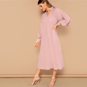 Pink Ruffle V-Neck Bishop Sleeve Pleated Solid Hijab Maxi Dress for Women - Funs & Good Women's fashion including dresses, T-shirts, sweatshirts, hoodies, leggings, skirts, bodysuits and more.