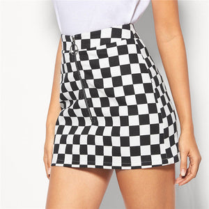 Black and White O-Ring Zip Fly Checkered Mid Waist Mini Skirt for Women - Funs & Good Women's fashion including dresses, T-shirts, sweatshirts, hoodies, leggings, skirts, bodysuits and more.