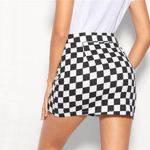 Load image into Gallery viewer, Black and White O-Ring Zip Fly Checkered Mid Waist Mini Skirt for Women - Funs & Good Women's fashion including dresses, T-shirts, sweatshirts, hoodies, leggings, skirts, bodysuits and more.