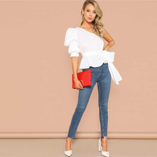 White One Shoulder Puff Sleeve Peplum Knot Belted Top Blouse for Women - Funs & Good Women's fashion including dresses, T-shirts, sweatshirts, hoodies, leggings, skirts, bodysuits and more.