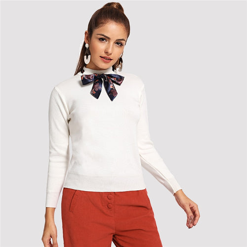Preppy Knotted Decoration Tie Neck Stand Collar Solid Sweater for Women - Funs & Good Women's fashion including dresses, T-shirts, sweatshirts, hoodies, leggings, skirts, bodysuits and more.