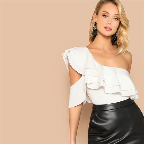 White Layered Ruffle One Shoulder Mid Waist Skinny Backless Bodysuit - Funs & Good Women's fashion including dresses, T-shirts, sweatshirts, hoodies, leggings, skirts, bodysuits and more.