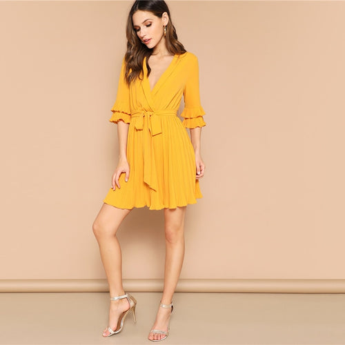 Yellow Deep V Neck Wrap Solid Belted Pleated Sexy Dress for Women (Flounce Sleeve A Line Shift Mini Dresses) - Funs & Good Women's fashion including dresses, T-shirts, sweatshirts, hoodies, leggings, skirts, bodysuits and more.